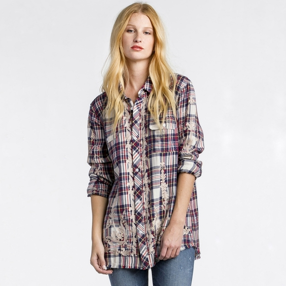 Miss Me Vintage plaid button down shirt embroidery